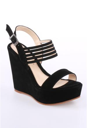 Sms Siyah Nubuk Kadın Ayakkabı-39108