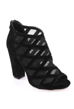 Sms Siyah Nubuk Kadın Ayakkabı-2106