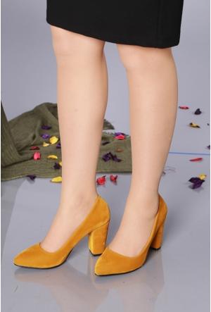 Lider Shoe Hardal Süet Klasik Kalın Topuk Kadın Ayakkabı