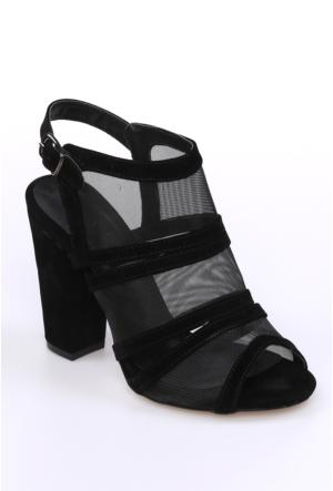 Sms Siyah Nubuk Kadın Ayakkabı-2136