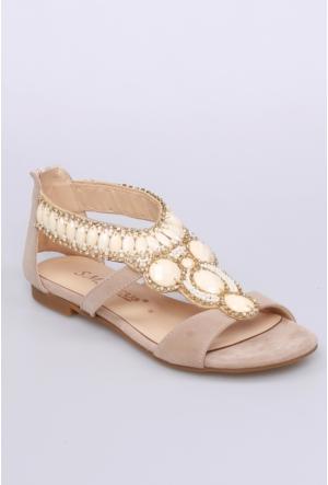 Sms Bej Nubuk Kadın Sandalet-2584