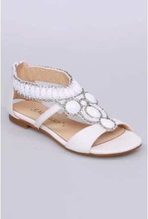 Sms Beyaz Kadın Sandalet-2584