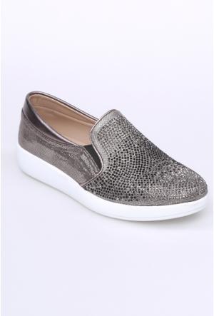 Oflaz Simli Platin Kadın Ayakkabı-Y050