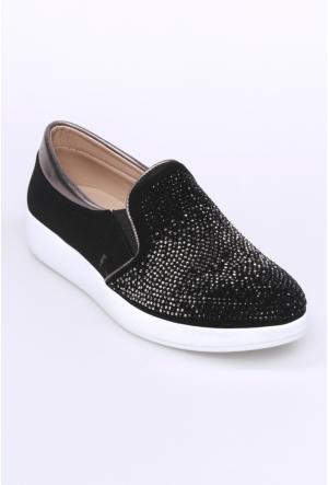 Oflaz Siyah Velvet Kadın Ayakkabı-Y050