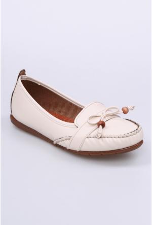 Zerrin Ayakkabı Bej Boncuklu Kadın Babet-112715