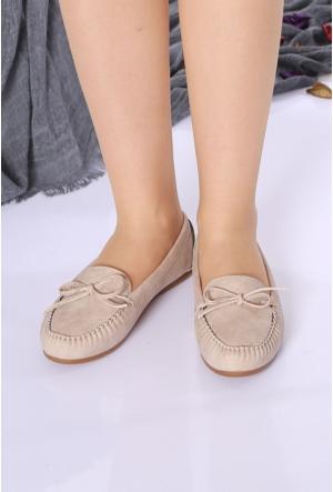 Zerrin Ayakkabı Bej Nubuk Tek İğne Kadın Babet-609991
