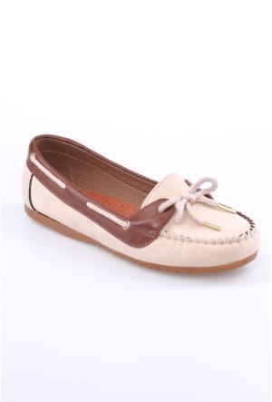 Zerrin Ayakkabı Bej Süet Bağcıklı Kadın Babet-609118