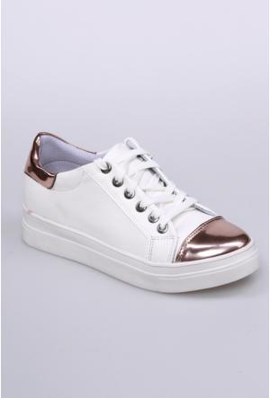Zerrin Ayakkabı Beyaz/Bakır Kadın Spor Ayakkabı-201460