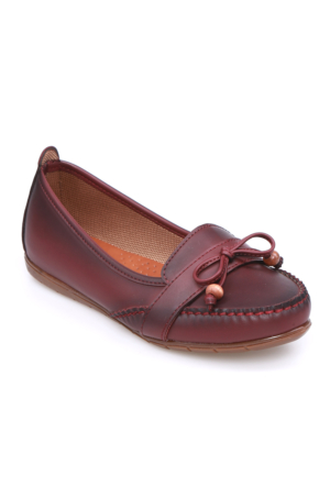 Zerrin Ayakkabı Bordo Boncuklu Kadın Babet-112715