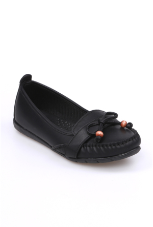 Zerrin Ayakkabı Siyah Boncuklu Kadın Babet-112715