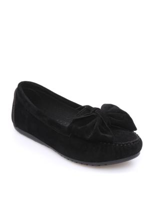 Zerrin Ayakkabı Siyah Süet Fiyonklu Kadın Babet-609996