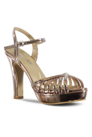Marjin Rales Topuklu Abiye Ayakkabı Altın