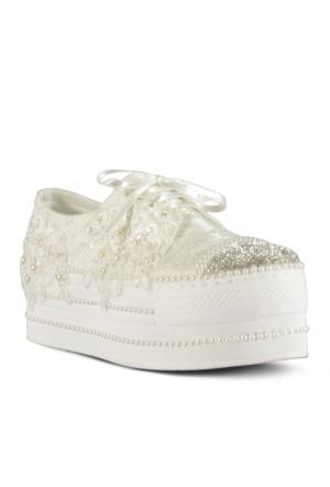 Marjin Jolen Abiye Spor Ayakkabı Beyaz Dantel