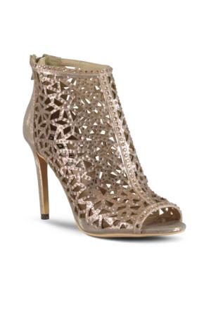 Marjin Palme Topuklu Abiye Ayakkabı Altın