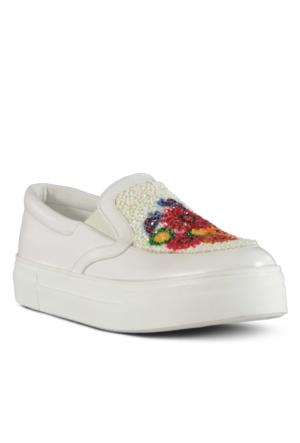Marjin Toro Düz Spor Ayakkabı Beyaz