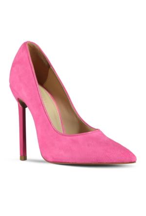 Marjin Lesla Topuklu Ayakkabı Fuşya Süet