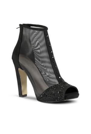 Marjin Pavel Platform Topuk Ayakkabı Siyah Süet