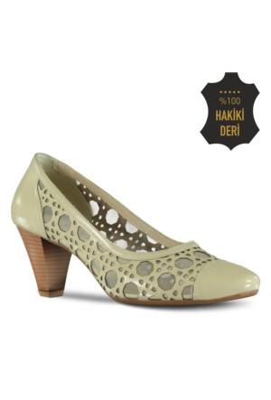 Marjin Leran Topuklu Deri Ayakkabı Bej