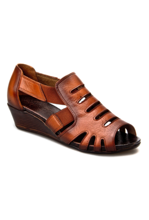Cabani Topuklu Günlük Kadın Ayakkabı Taba Deri