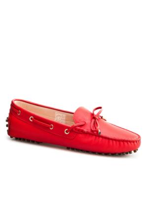 Cabani Loafer Günlük Kadın Ayakkabı Kırmızı Deri