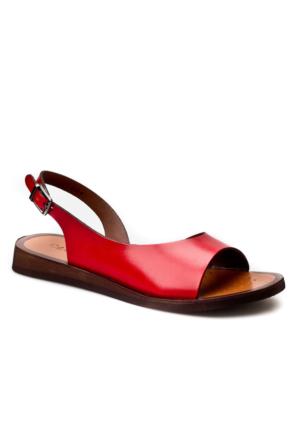 Cabani Tokalı Günlük Kadın Sandalet Kırmızı Deri