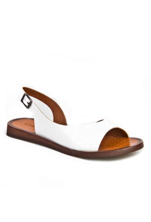 Cabani Tokalı Günlük Kadın Sandalet Beyaz Deri