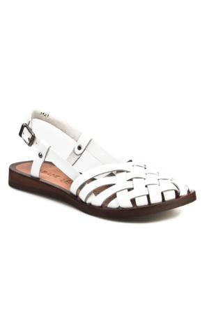 Cabani Örgülü Tokalı Günlük Kadın Sandalet Beyaz Deri