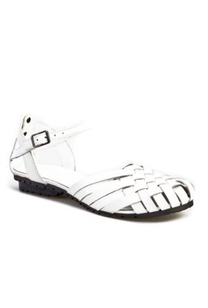 Cabani Örgülü Günlük Kadın Sandalet Beyaz Deri