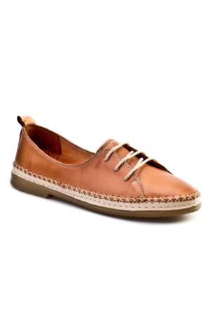 Cabani Bağcıklı Günlük Kadın Ayakkabı Bej Taba