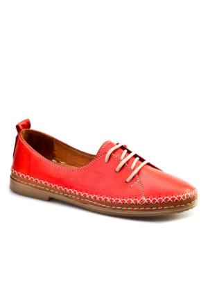 Cabani Bağcıklı Günlük Kadın Ayakkabı Taba Kırmızı