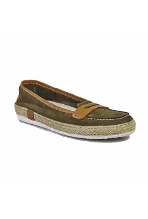 Desa Collection Deri Kadın Günlük Ayakkabı Yeşil-Taba