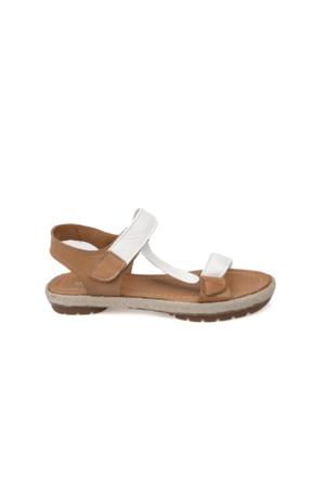 Uniquer Kadın Hakiki Deri Sandalet 7176U 2275 Beyaz-Taba