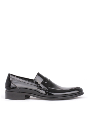 Crunell 204218 027 020 Erkek Siyah Rugan Klasik Ayakkabı