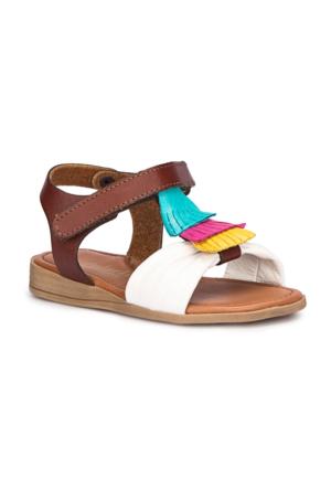 Polaris 71.509293.B Beyaz Kız Çocuk Deri Sandalet