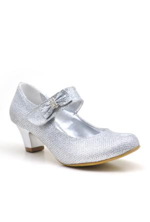 Sarıkaya Abiye Gümüş Taşlı Fiyonklu Topuklu Kız Çocuk Ayakkabısı