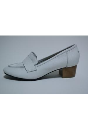 Akl Shoes Beyaz Deri Ayakkabı Babet