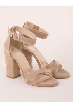 Mecrea Selena Bej Süet Topuklu Sandalet