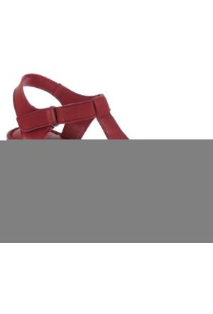 Beety Bty 305 Bordo Hakiki Deri Dolgu Tabanlı Bayan Sandalet