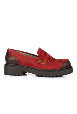 İloz 334121 Bordo Hakiki Deri Loafer Tarz Bayan Ayakkabı