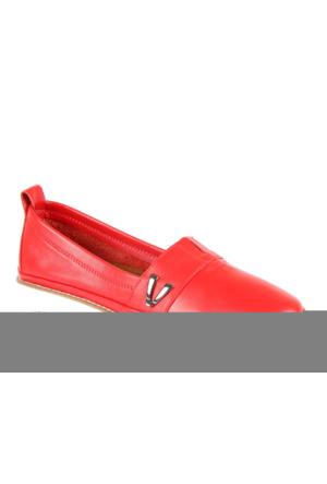 Shalin Est 59 Kırmızı Hakiki Deri Bayan Ayakkabı Günlük