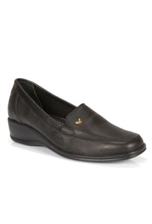 İloz 316055 Siyah Hakiki Deri Ortopedik Kadın Ayakkabı