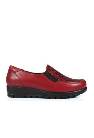 İloz 106596 Bordo Hakiki Deri Anatomik Bayan Ayakkabı