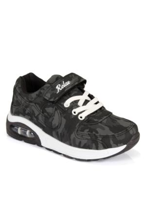 Shalin 874 Siyah Kamuflaj Cırtlı Çocuk Spor Ayakkabı