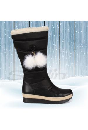 Shalin Siyah Ponponlu Kürklü Kadın Kar Botu Bayan 45