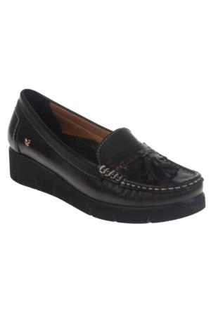 İloz 240109 Siyah Hakiki Deri Günlük Bayan Ayakkabı