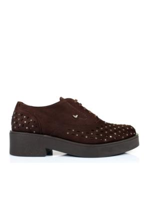 İloz 365007 Kahve Hakiki Deri Bağlı Bayan Ayakkabı