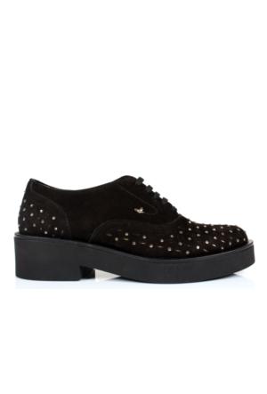 İloz 365007 Siyah Hakiki Deri Bağlı Bayan Ayakkabı