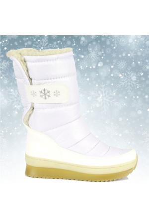 Shalin Beyaz Cırtlı Kürklü Kadın Kar Botu Bayan 47