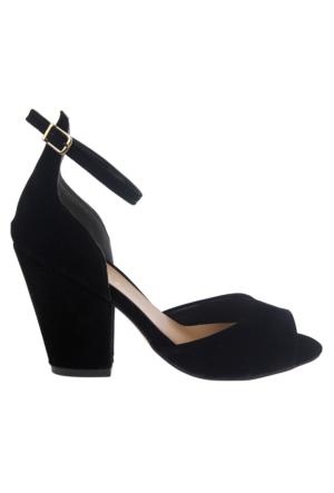Shalin Mlb 40 Siyah Süet Topuklu Bayan Sandalet