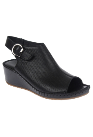 Beety 4260 Siyah Hakiki Deri Bayan Sandalet